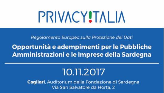 Cagliari – 10 novembre 2017 Regolamento Ue #SaveTheData. Tutti i contenuti dell'evento