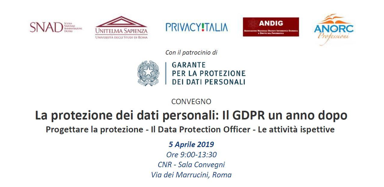 Convegno GDPR 5 aprile 2019