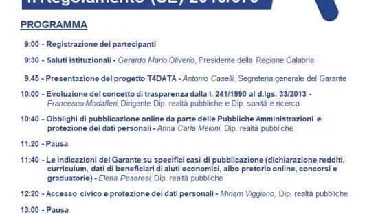 T4DATA: il 26 giugno a Catanzaro nuovo incontro formativo per i DPO