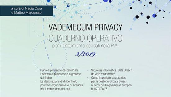 Vademecum Privacy. Quaderno operativo per il trattamento dei dati nella PA (2019). Vol. 3